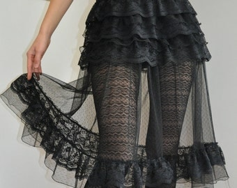 Black Lace Tulle Steampunk Gothic Ruffle Skirt OverSkirt ( also Available in White) - XS S M L XL XXL