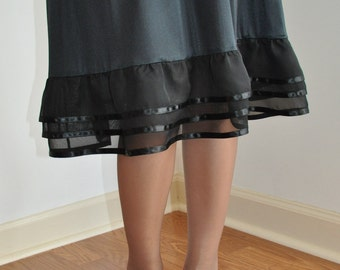 Three-tiered Black  Chiffon / Ribbon RuffleTrimmed Slip - Available in Black, White, Brown, Cream / Ivory