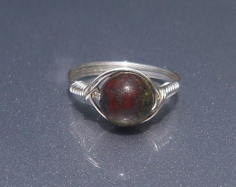 LG Dragons Blood Jasper Argentium Sterling Silver Wire Wrapped Ring