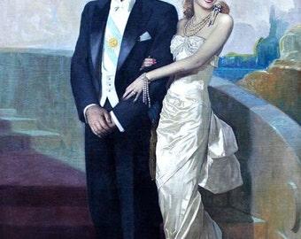 Evita Don't Cry for Me Argentina 1940s Portrait of then Argentine President Juan Domingo Perón and his wife María Eva Duarte de Perón Print