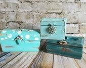 Aqua jewelry boxes, turquoise jewelry box, wood box, vintage boxes, teal, painted trinket boxes, set of 3, Shabby chic, rhinestones, wedding
