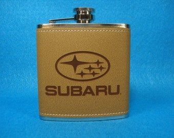 SUBARU Leather Flask - Great gift for the Subaru owner! Subaru, Legacy, Outback, Forrester. Great Christmas Gift!