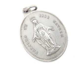 Large Vintage Miraculous Medal - French Congregation of the Children of Mary Catholic Charm - Our Lady of Grace - R39