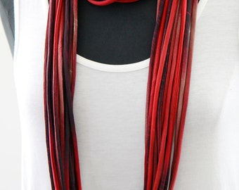Infinity Scarf in Wine Red Print, Scarf Necklace,  Loop Scarf, Circle Scarf, Fashion Scarf, ,  Mother's Day Gift, Silky Scarf