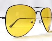 vintage 90's backstock yellow aviator sunglasses black metal wire frames night driver driving motorcycle sun glasses eyewear men women retro