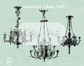 Chandeliers Vol TWO Instant download Transparent .png Antique French Chandeliers CliP ART