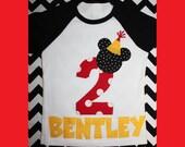 Mickey Mouse Birthday Shirt on baseball style raglan tee