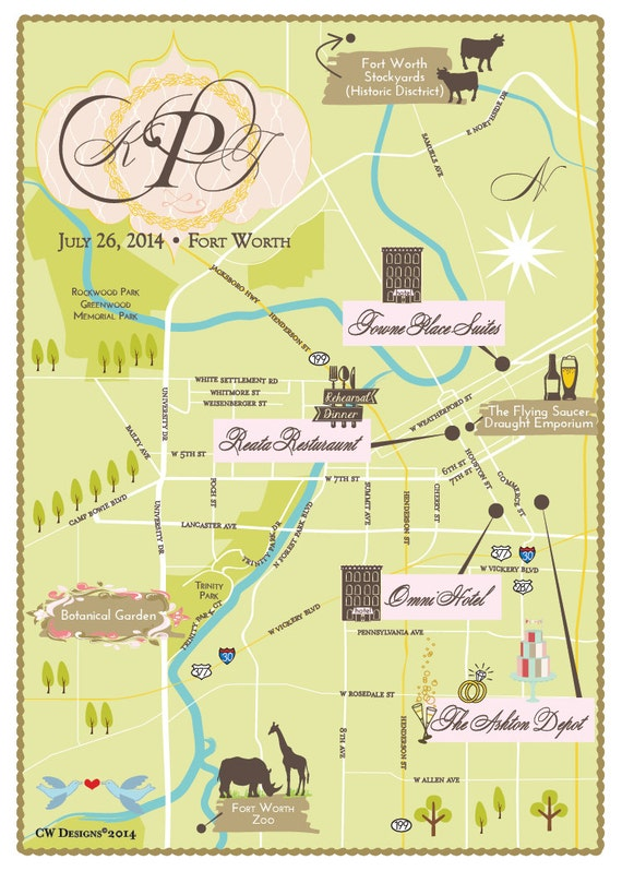 Fort Worth Texas Custom Wedding Map Same Design But Choose