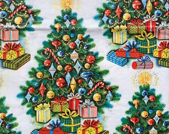 OH CHRISTMAS TREE - Vintage Wrapping Paper Gift Wrap Shiny Brite Ornaments
