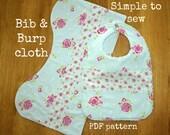 Burp cloth set pattern, Baby bib patterns, Burp clothes pattern, Baby bibs handmade - Classic Bib and Burp Cloth pattern (S122)