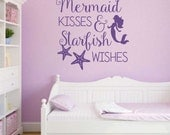 Mermaid Kisses Starfish Wishes Quote, Vinyl Wall Lettering, Vinyl Wall Decals, Vinyl Letters, Vinyl Lettering, Wall Quotes, Beach Theme