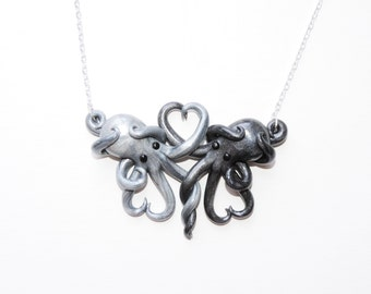 Made to order Intertwined Octopi in love Necklace, silver and gun metal