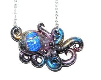 Galaxy octopus with painted T.A.R.D.I.S. necklace, opalescent, sparkly, glitter, starry night, outer space, stars, cosmic, doctor who