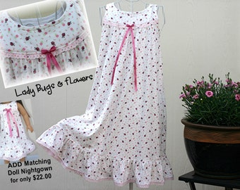 Girls' NIGHTGOWN-Size 6 // 100% Cotton-Knit // READY to SHIP // Pink Lady Bugs //Visit my shop for other available sizes