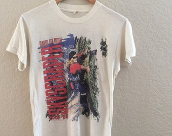 1988 David Lee Roth Skyscraper Tour Thin Soft 50/50 Concert T-Shirt