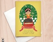 To be light - Frida Kahlo Quote - Greeting Card