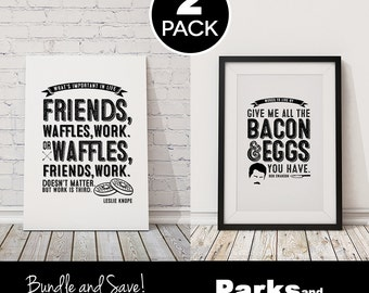 """Leslie Knope + Ron Swanson Quote Posters - """"Friends, Waffles, Work"""", """"Bacon and Eggs"""" ~ 2 Pack Poster Bundle ~ Printable PDFs ~ Parks & Rec"""