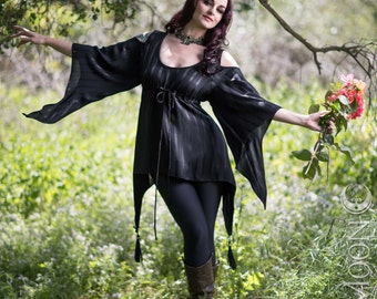 SALE: The Faerie Top in Shiny Black Stripe by Opal Moon Designs (Size XS/S or S/M)