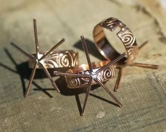 Copper Adjustable Ring Claw Setting For Natural Stones or Whatever with Doodle Pattern