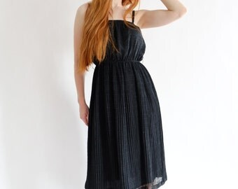 Black spaghetti dress, vintage, xs - small