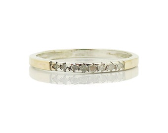 old european cut diamond ring set in a sterling silver & Yellow gold