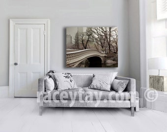 Central Park Canvas, Bow Bridge, New York Photography on Canvas, Large Wall Art Canvas, Beige Gray Neutral