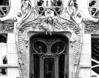 Door Photo, Black and White Paris Print, Art Nouveau Door, Neutral Wall Art, Paris Decor