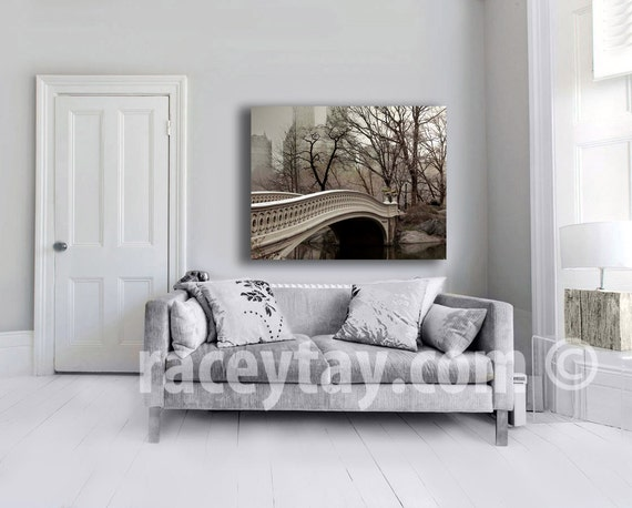Central Park Canvas, Bow Bridge, New York Photography on Canvas, Large Wall Art Canvas, Beige Gray Neutral