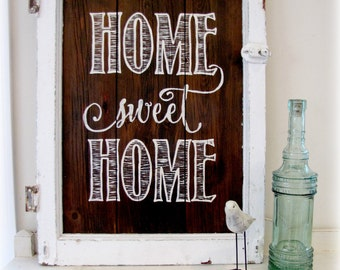 Home Sweet Home Barn Wood Sign - IN STOCK- Ready to ship - Typography Sign- reclaimed Barn Wood Wall Decor