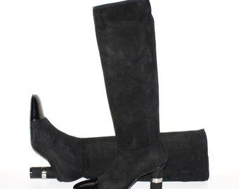 CHANEL Vintage Boot Black Stretch Suede Patent Leather Cap Toes 38 - AUTHENTIC -