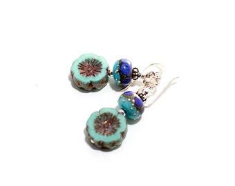 Petite Glass Bead Earrings. Baby Boho Earrings. Light Turquoise and Purple Earrings. Small Dangle Earrings. Lampwork Jewelry.