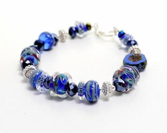 Cobalt Blue Glass Bead Bracelet. Midnight Blue Lampwork Bracelet. Sterling Silver Bali Beads. Artisan Bracelet. Lampwork Bead Jewelry.