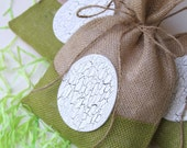 Burlap Gift Bags or Treat Bags, Set of FOUR, Easter Eggs, Natural and White, Shabby Chic Gift Wrapping, Wood Egg with crackle effect paint.
