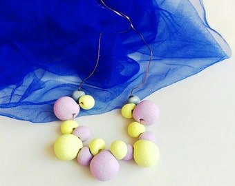 Candy Statement Necklace, Pastel Bib Necklace, Purple Yellow Necklace