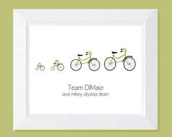 Custom Family Bicycle Print,  Bikes, Bicycles, Baby Announcement, Bike Home Decor, Bike Wall Decor, New Baby Wall Art, Family Print