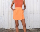 Vintage Silk Tangerine Orange 1990's Minimalist High Waisted Pocket Wrap Mini Skirt S/M 27