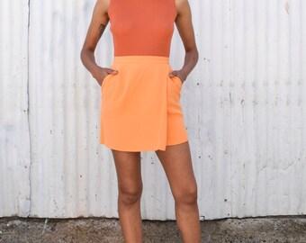 Vintage Silk Tangerine Orange 1990's Minimalist High Waisted Pocket Wrap Mini Skirt S/M 27
