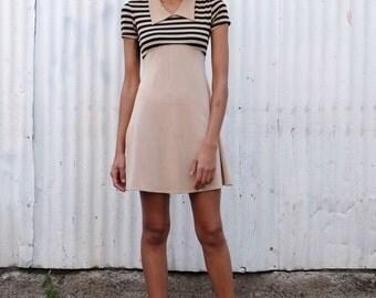 Vintage Striped 1990's Babydoll Collared Mod Stretch Empire Waist Mini Dress S