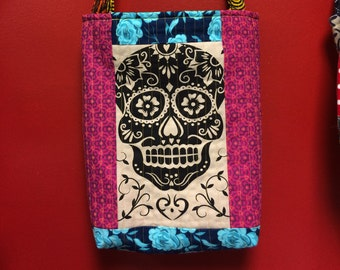 DAY of the DEAD head quilted cross body crossbody tote bag handmade Tanzania textile Shweshwe french vintage FONT fabric