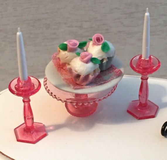 Miniature Pink Cake Plate Stand and Candle Set, Dollhouse Miniature Accessory,  1:12 Scale, Miniature Decor, Dining