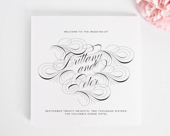 Luxe Flourish Wedding Program - Luxury Wedding Program with Flourishes and Swirls - Purchase this Deposit to Get Started