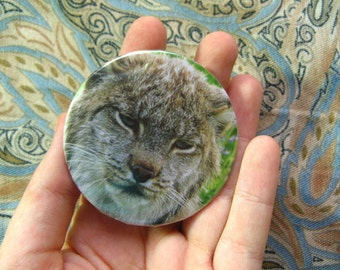 GRUMPY LYNX PIN - Large Size 2 Inch Brooch Badge ooak Pins with Disgruntled Feline Cat, Cute Adorable Wild Animal Lynxes Bobcat Cats Jewelry