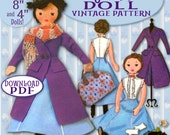 "Mary POPPINS DOLL pattern 17"" vintage BONUS sizes: 8"" & 4"" Cloth Dolls - Victorian Oufit Carpet Bag Rag Doll epattern Pdf download"