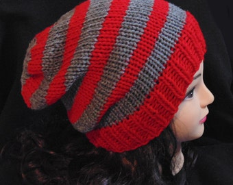 Red and Grey Men's Knit Hat, Striped Knitted Slouchy Beanie Hat