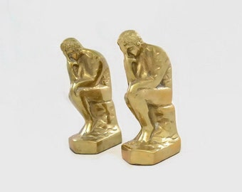 Vintage Bookends 'The Thinker' Solid Brass Korea