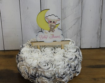 Baby Shower Cake Topper/Name/Lamb/Moon/Personalized/Party Decor/Cake Decor/Cake Decor/Birthday