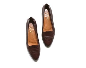 Vintage Leather Loafers Size 7.5 / Brown Leather Flats / Leather Glove Shoes