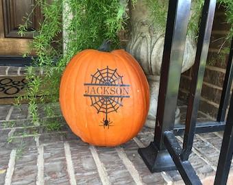 Pumpkin Decal ~ Spider Web Pumpkin Decal ~ Personalized Pumpkin Halloween Decal ~ Halloween Decor ~ Jack O Lantern Decal ~ Pumpkin Stickers