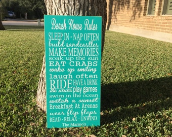 Beach House Rules ~ Personalized Family Sign ~ Family Rules Sign ~ Beach House Sign ~ Personalized Gift ~ Beach Decor ~ Lake House Decor