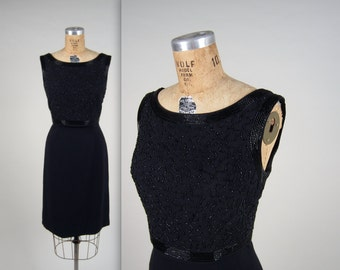 1950s beaded party dress • vintage 50s dress • black wiggle dress